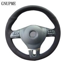 GNUPME Black Suede Car Steering Wheel Cover for Volkswagen Golf 6 Mk6 VW Polo Sagitar Bora Santana Jetta Mk6