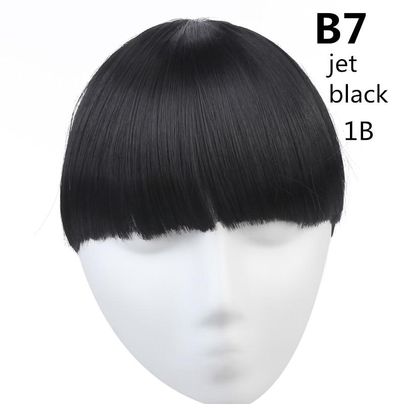SARLA волосы челка клип в подметание боковая бахрома поддельные накладные взрыва натуральные синтетические волосы кусок волос черный коричневый B2 - Цвет: 1B
