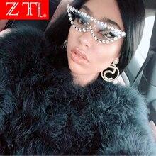 ZT Cat Eye Bling Sunglasses Rhinestone Charming Fashion Women UV400 Metal Frame Sexy Retro Stylish Kawaii Sun Glasses