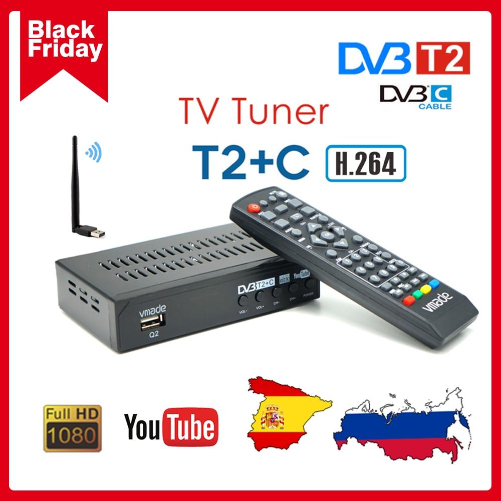 DVB-C combinação tv sintonizador dvb t2 terrestre digital tv receptor h.264 decodificador youtube europa rússia espanha conjunto caixa superior