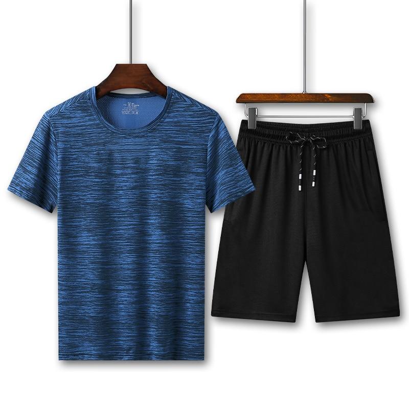 Men Summer Set Fashion 2 PCS Sweat Suit Slim Fit Short Sleeve T-shirt Shorts Sets Male Sportswear Tracksuit Casual Sportsuit 8XL