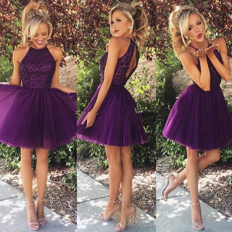 Purple Halter Homecoming Dress 2021 Mini Party Prom Gown A-Line Short Tulle Sleeveless Backless Sequined Beads Above Knee