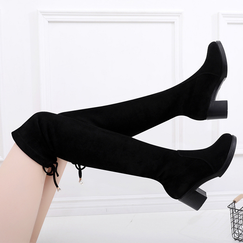 Plus Size 33-43 Block Heel Long Boots Women Shoes 2019 Fall Winter High Heels Boots Over the Knee Boots Knight Stretch Boots