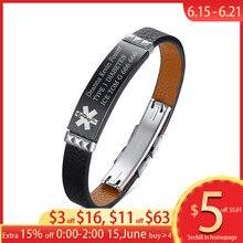 Free Customize Medical Alert ID Tag Bracelet Black Geruine Leather DIABETES Emergency