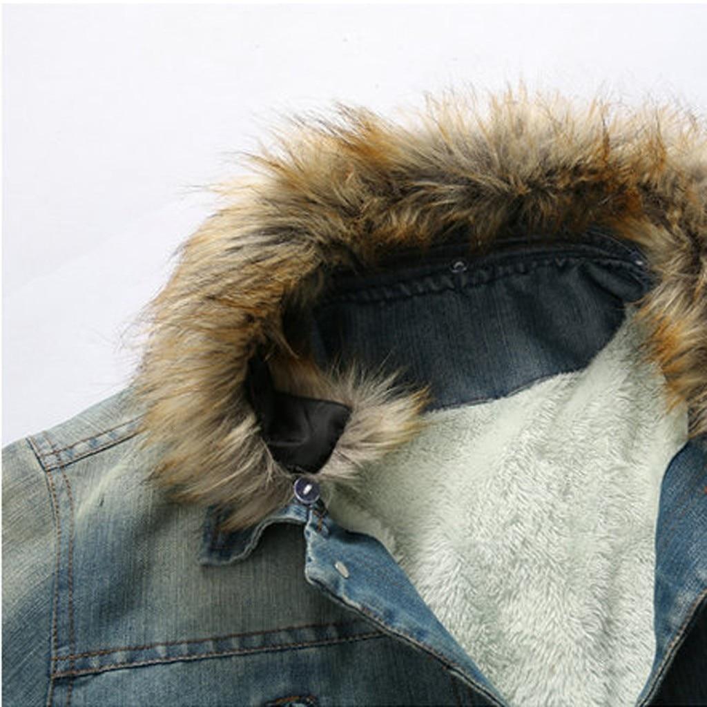 Hommes cou automne hiver Vintage en détresse Demin veste hauts manteau Outwear grande taille laine Liner plus épais hiver Denim vestes Y930 - 5