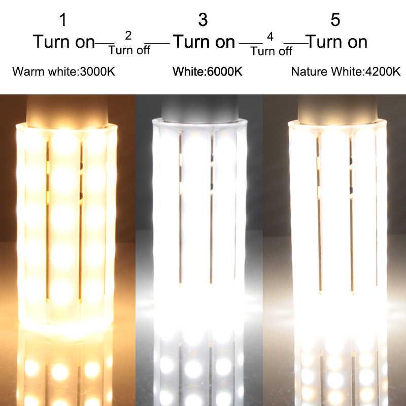 Ampoule led e27 E14 ampoule de maïs 3000K 4500K 6000K 3 couleurs changement 110v 220v 12W bougie lampe économiseuse d'énergie coquille laiteuse 360 degrés