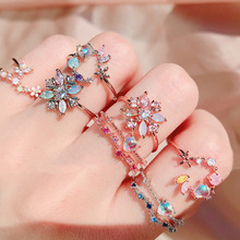 MENGJIQIAO Fashion Korean Delicate Zircon Heart Moon Adjustable Rings For Women Micro Pave Colorful Crystal Finger Ring Jewelry