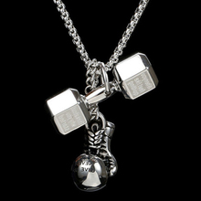 barbell Boxing gloves necklace pendant mens stainless steel necklace Multiple necklace steel jewelry for neck male accessories stainless steel barbell pendant necklace for men