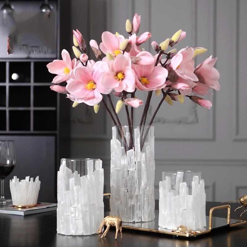 Modern Flower Vase Mosaic White Crystal Chip Glass Flower Pot For Homes Glass Wedding Tabletop Vase Counter Plant Vase Gift Vases Aliexpress