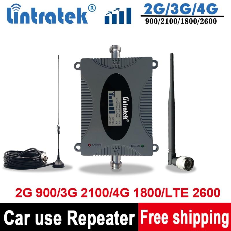 Lintratek 2G/3G/4G Signal Repeate Car Antenna 900 1800 UMTS 2100 Car Gsm Signal Booster GSM DCS WCDMA LTE 2600Mhz Car Amplifier