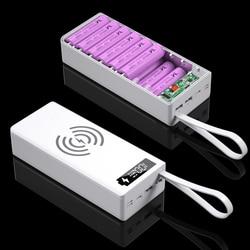 QC3.0 Беспроводной заряд 16*18650 Батарея DIY Мощность банк чехол Dual USB мобильный телефон Зарядка 18650 Батарея держатель зарядным устройством