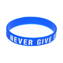 hot Never Give Up silicone bracelet inspirational sports with soft green wholesale price