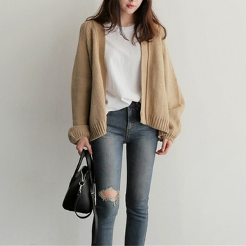 Women's Knitting  Loose Sweater Ladies' Casual Style Coat Solid Color Outwear Casual Open Front Cardigan Coat 4