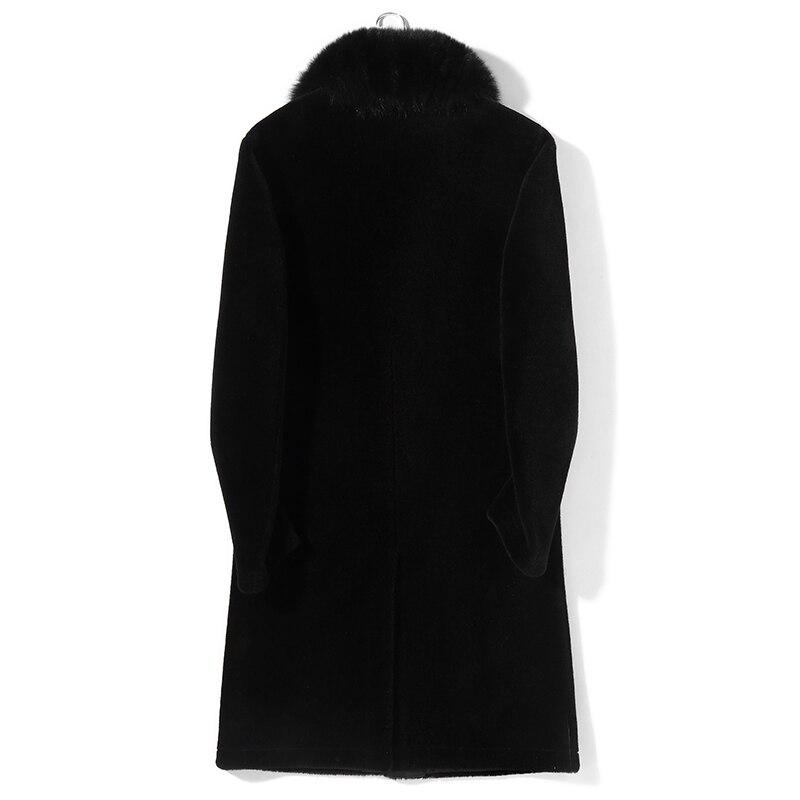 Natural Real Fur Coat Men Clothes 2020 Winter Sheep Shearling Coat Large Fox Fur Collar Thick Warm Overcoat Hiver PM8516Z