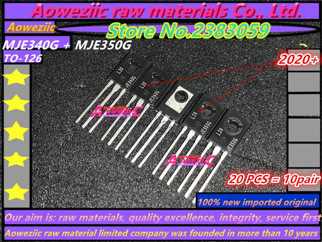 Aoweziic 2020 + 100 ٪ جديد مستورد الأصلي MJE350G MJE340G MJE350G MJE340 MJE350 JE340G JE350G TO 126 أنبوب مطابقة الصوت