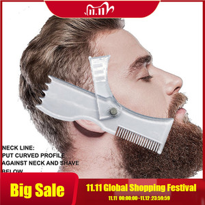 Image 1 - Beard Shaping Tool Template Double Sided Beard Comb New Hot Sale Shaving & Hair Removal Razor Tool for Men