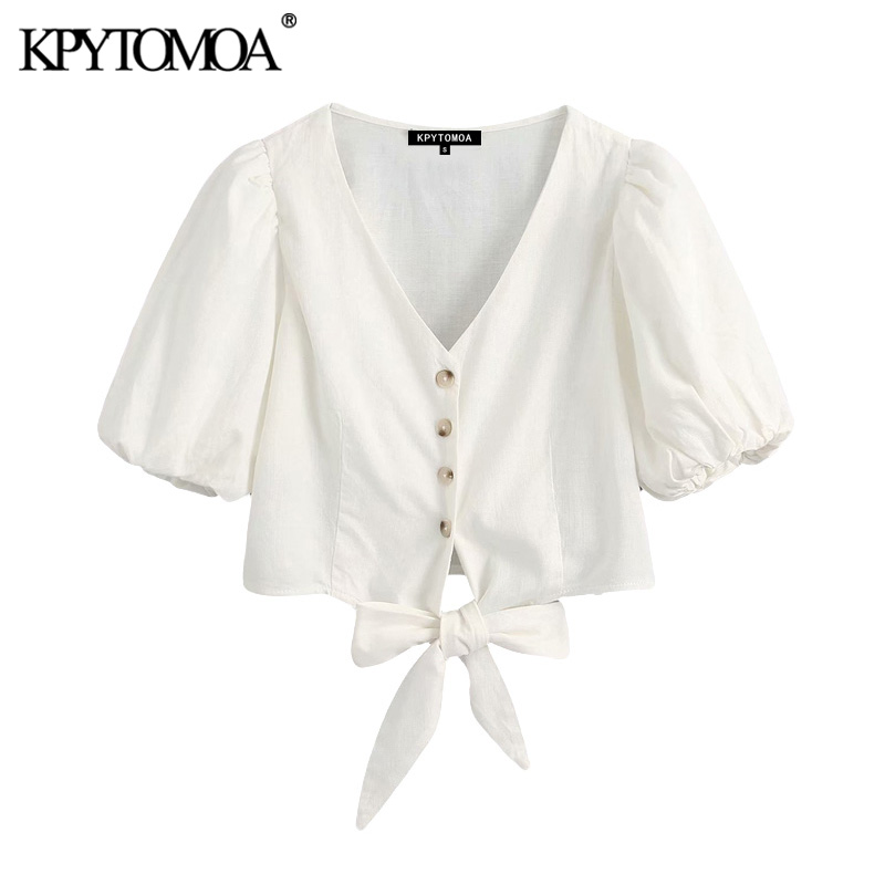 KPYTOMOA Women 2020 Fashion Bow Tie Buttons Cropped Blouses Vintage V Neck Puff Sleeve Female Shirts Blusas Chic Tops