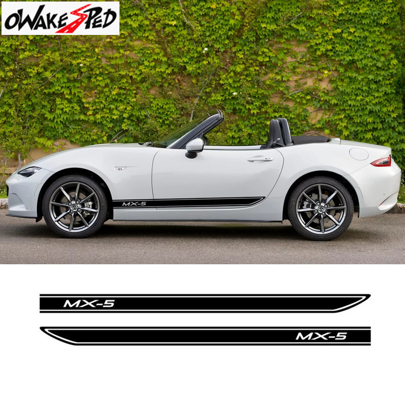 Car Styling Side Skirt Stickers DIY Auto Vinyl Wrap Racing Decals Decor Automobiles For <font><b>Mazda</b></font> <font><b>MX</b></font>-<font><b>5</b></font> <font><b>RF</b></font> Roadster Eunos Edition image