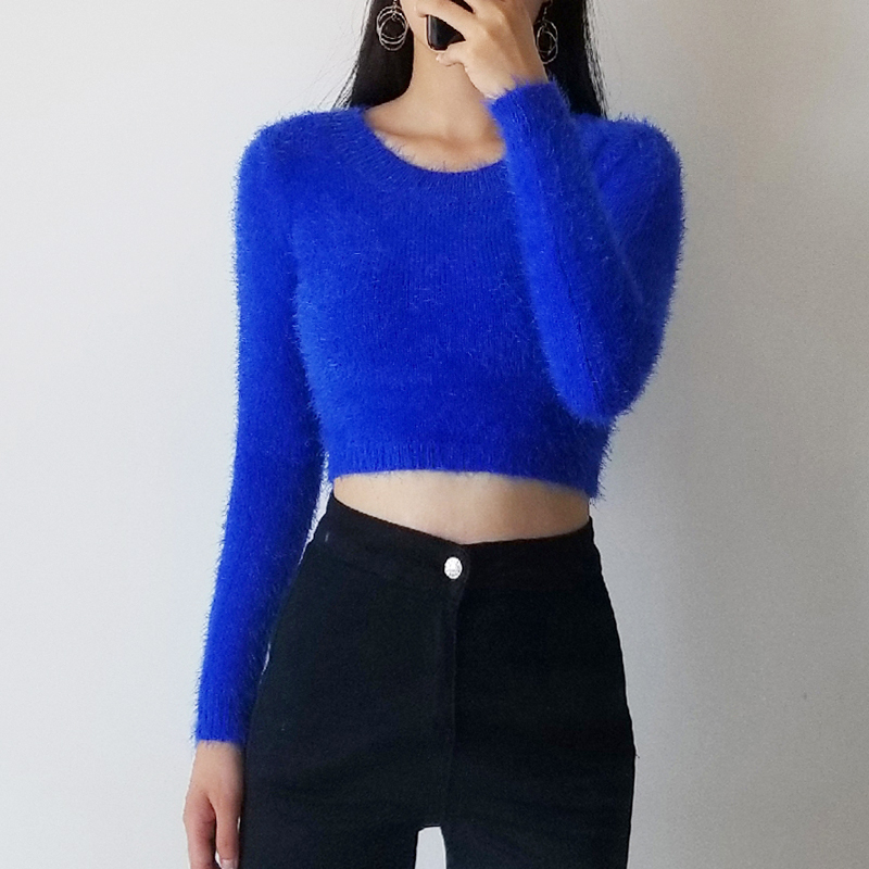 Women Tight-fitting Elastic High Waist Short Furry Navel Long-sleeve Pullover All-over Fuzzy Cropped Sweater