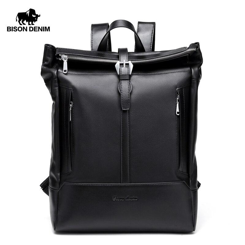 BISON DENIM Genuine Leather Backpack Male 15 Inches Laptop Bag Travel Men Backpack Lock Schoolbag For Men N2522