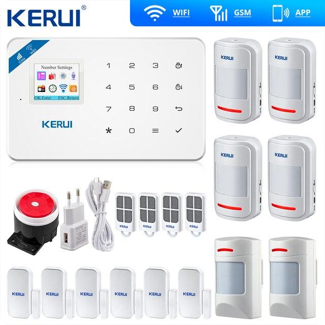Kerui W18ワイヤレスwifi gsm警報ios androidアプリ制御gsm sms無線lanホーム盗難警報システムペット免疫運動ペットモーション