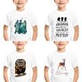 Harajuku из мультфильма детская футболка с надписью, футболка с короткими рукавами на каждый день для новорожденных унисекс с круглым воротом о...