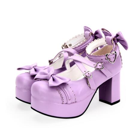female spring Autumn anime <font><b>lolita</b></font> cosplay <font><b>shoes</b></font> leather Princess <font><b>women</b></font> heeled <font><b>shoes</b></font> Bow high heels platform <font><b>shoes</b></font> image