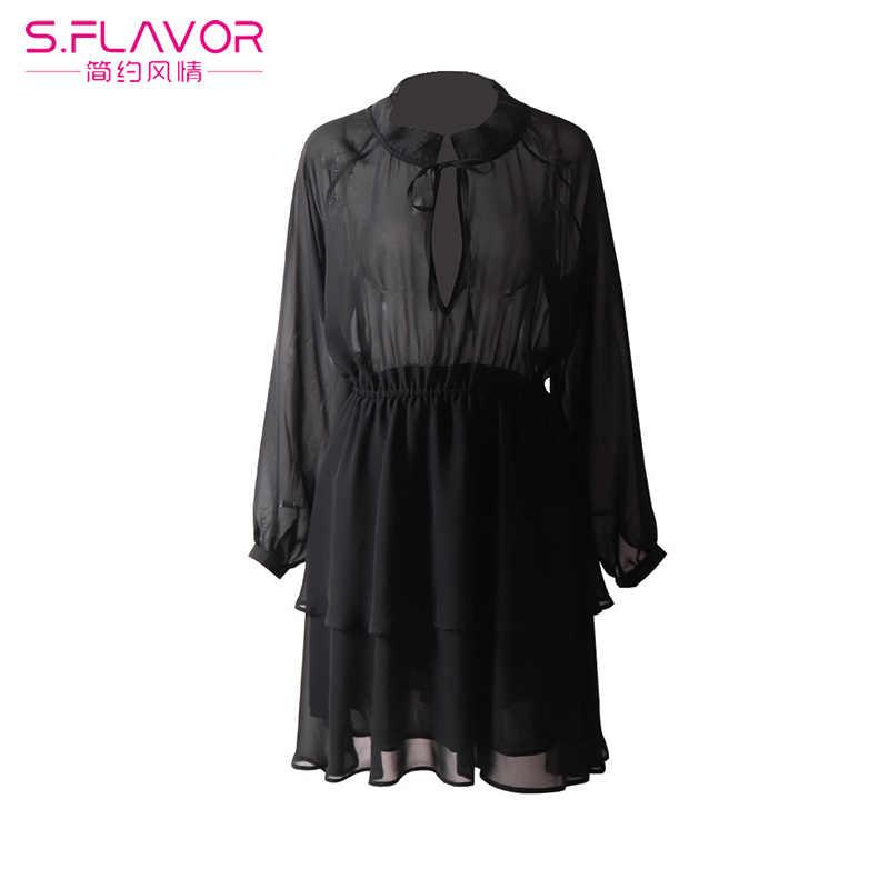 2019 осень Для женщин Винтаж A-Line платье из шифона с длинным рукавом; соблазнительные женские вечерние пляжное платье весна женские платья Vestidos платье