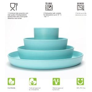 Image 4 - lekoch European tableware 5pcs blue Bamboo fiber Household Dishware Set Simple dishes salad Soup bowl Steak plate Western dish