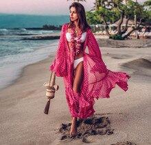 цена на Sexy Bikini Cover-ups Red Dot Printing Tunics Bohemian Women Plus Size Beach Dress Long Kimono Cardigan Swimsuit Flare Sleeve
