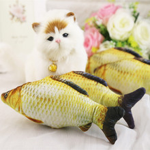 Creative 3D Cat Toys Interactive Fish Stuffed Pillow Cat Plush Toy Funny Simulation Fish Feather Cat Toy Popular Pet Supplies
