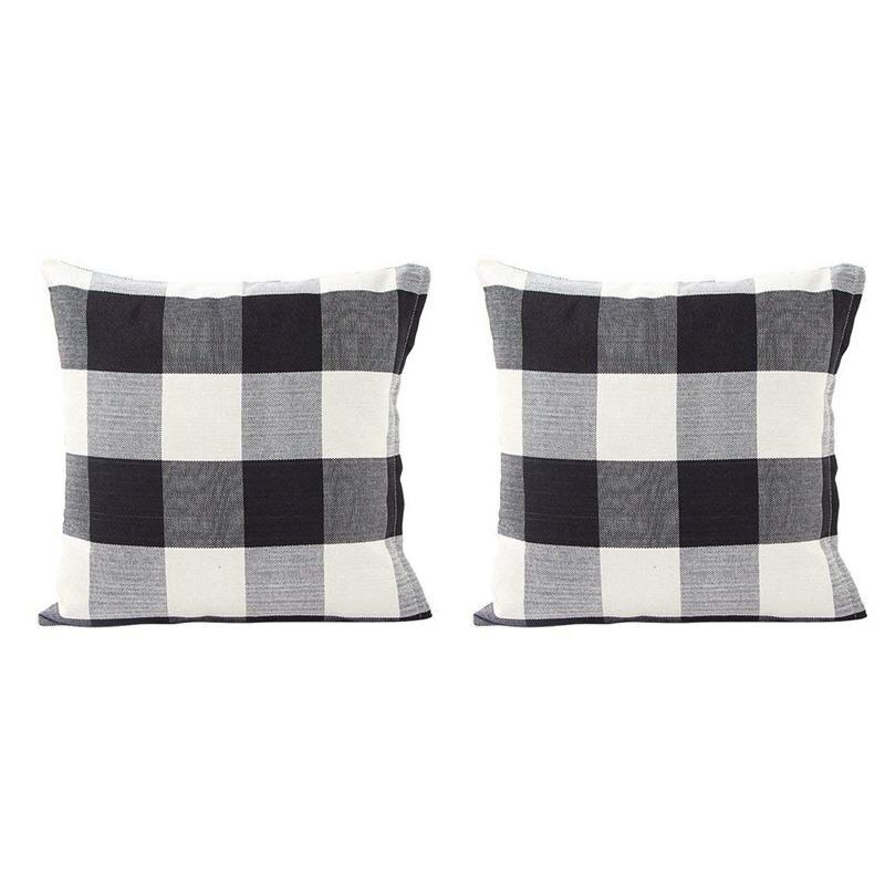Black White Retro Checkers Plaids Cotton Linen Square Throw Pillow Cover Decorative Cushion Cover Pillowcase Cushion Case  Set o|Pillow Case| |  - title=