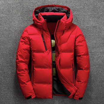 winter jacket men's high quality warm thick coat snow red black pike coat men's warm jacket fashion - white duck down M-3XL code