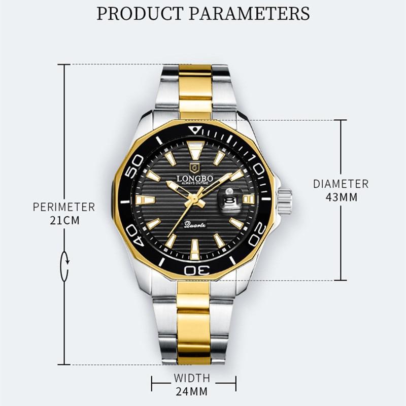 Image 4 - LONGBO Quartz Watches Men Popular Brand Sports Wristwatches Business Stainless Steel Waterproof Clock Relogio MasculinoQuartz Watches   -