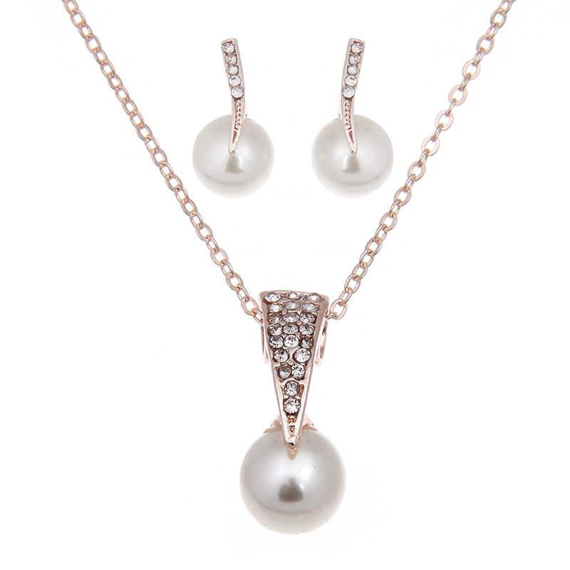 パールジュエリーセットネックレスイヤリング水滴真珠の女性のパーティーのジュエリーウェディング Jewlery クリスマスギフト