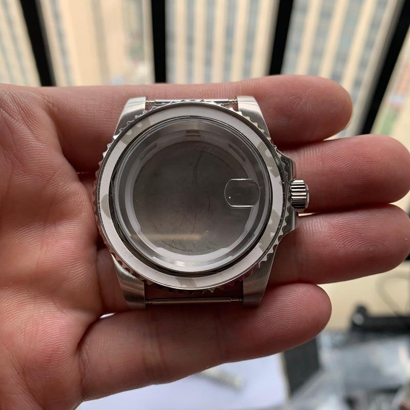 OUMASHI 40mm Watch Case Sapphire Glass Silver Stainless Steel Case For ETA 2836 Mingzhu DG2813,3804,Miyota 8215 Movement