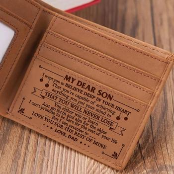 VE1001 DAD TO SON Men's Boy's Wallet Genuine Engraving Laser Leather Purse Card Holder Bifold Wallets Purses Retro From DAD