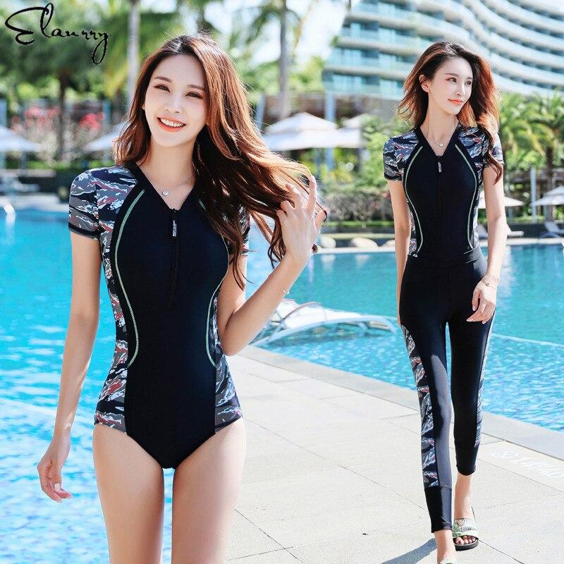 Женский спортивный купальник с принтом, 2 шт., костюмы для серфинга на молнии, длинные штаны, мягкие рашгарды, Maillot De Bain Femme, высокое качество