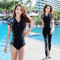 Women Sport Swimsuit Print 2 Pieces Surfing Suits Zipper Long Pants Padded Rashguards Maillot De Bain Femme High Quality