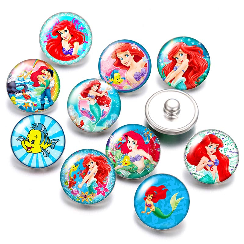 DB0480 Princess Mermaid 18mm Snap Buttons 10pcs Mixed Round Photo Glass Cabochon Style For Snap Button Jewelry