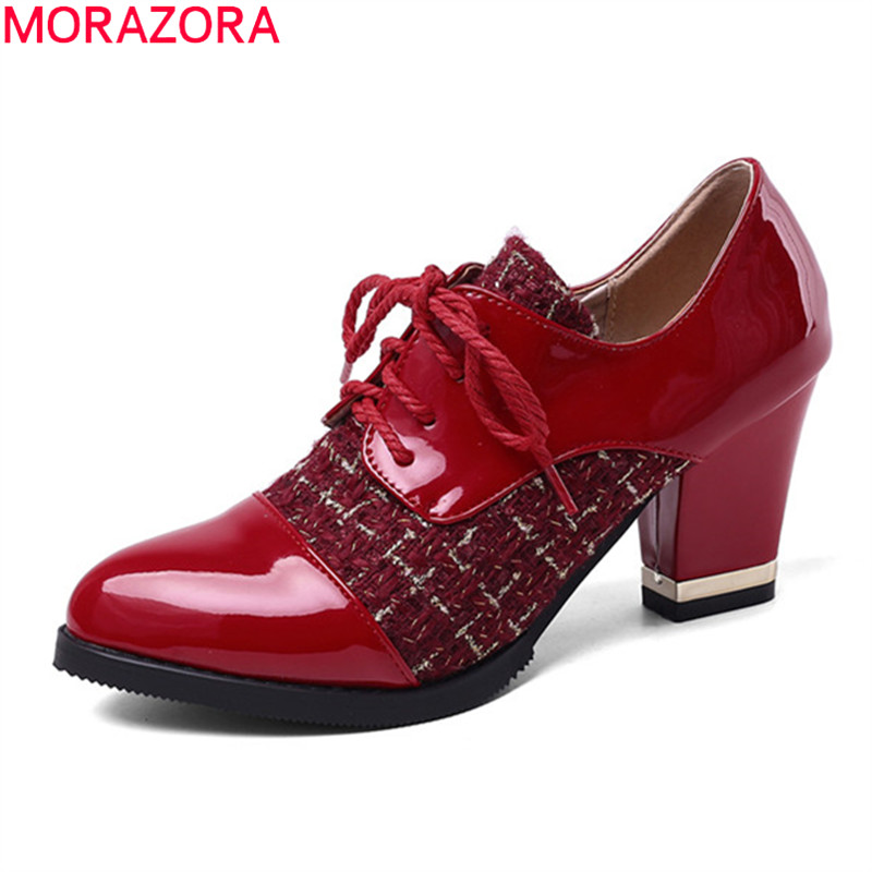 MORAZORA Plus Size 33-43 2020 Fashion High Heels Shoes Sweet Lace Up Spring Women Pumps Thick Heels Round Toe Party Shoes
