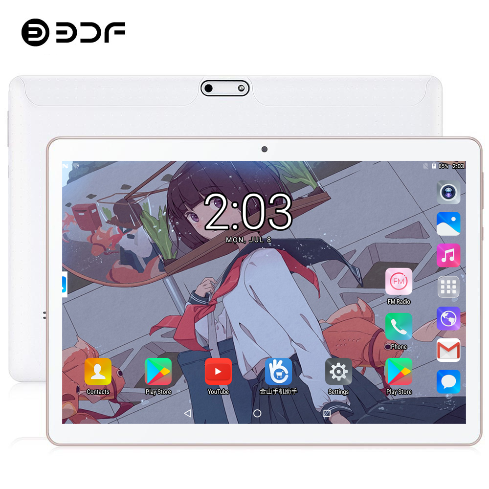 BDF 2.5D Tempered Glass 10.1 Tablet PC 4G/3G Phone Call Android 9.0 Ten Core 8GB/128GB Dual SIM WiFi Bluetooth 4G LTE Tablet 10