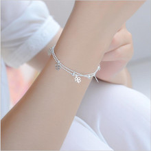 Charm Female Silver Anklets Women Wedding Clover Jewelry Fashion 925 Sterling Bracelets For Girl Bride Accessories Anklet