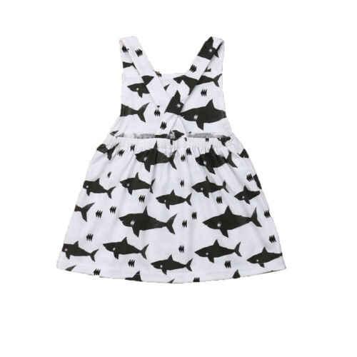 귀여운 아기 소녀 유아 여름 옷 만화 상어 인쇄 공 가운 드레스 의상