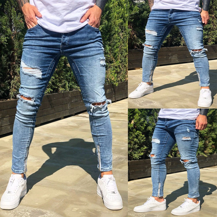 High Quality Denim Jeans For Men 2020 Newest Fashion Trousers With Holes Decor Elasticity Small Foot With Zipper Long Jeans