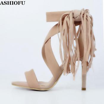 ASHIOFU Handmade Ladies High Heel Sandals Fringed&Tassels Party Prom Summer Shoes Club Evening Fashion Sandals Shoes XD021