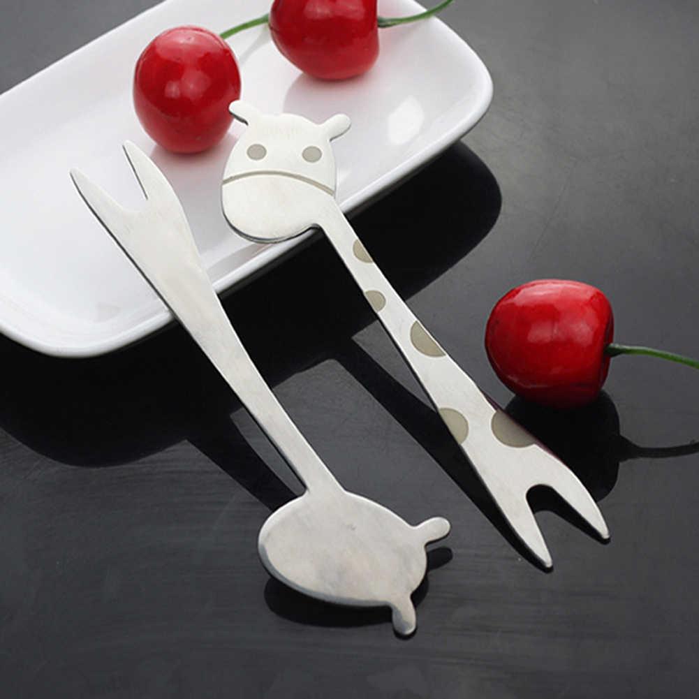 1Pc キリンデザインステンレス鋼ケーキデザートスナックフルーツサラダフォーク子供食器の形動物ピックサラダ砂漠フォーク新しい