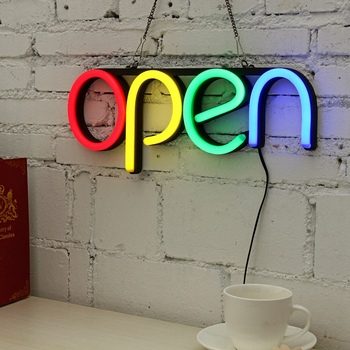 Open Neon Sign | US Plug 16 Inch Open Neon Sign Led Light Tube Handmade Visual Artwork Bar Club KTV Wall Decoration Commercial Lighting Colorful