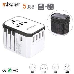Image 1 - Adapter podróżny Rdxone uniwersalny zasilacz ładowarka na całym świecie adapter ścienny konwerter gniazd elektrycznych do telefonów komórkowych