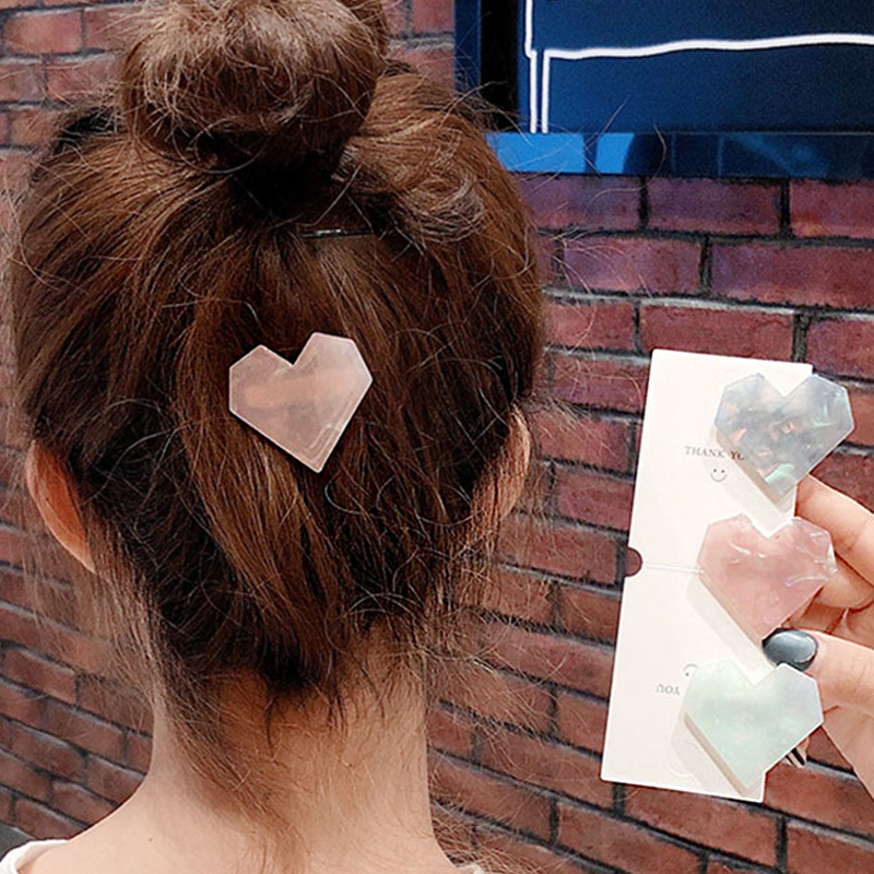 New Women Girls Cute Colorful Acetate Heart Hair Clips Sweet Hair Ornament Hairpins Barrettes Headband Fashion Hair Accessories